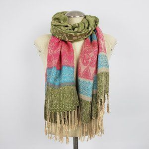 Cashmere Blue Pink & Green Scarf